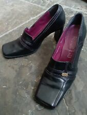 Vintage style 80s black leather RED OR DEAD court shoes purple trim heels 37 4