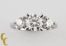 18ct Oro Blanco Diamante Tres Piedras Anillo De Compromiso Con / EGL Certificado