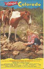 1955 COLORADO Official State Highway Road Map Denver Mesa Verde Loveland Pass
