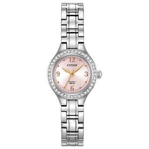 Citizen Women's Quartz Swarovski Crystal Accent Pink Dial 22mm Watch EJ6090-53X