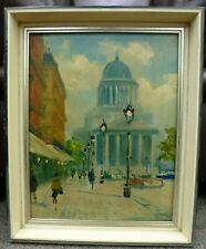Original vintage Oil Painting Expressionist Paris Pantheon French City scene 50s