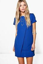 Boohoo Patrice Cap Sleeve Wrap Over Shift Dress Blue Size UK 8 Dh078 II 22