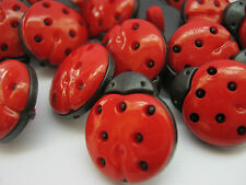 10 Ladybirds Sewing Shank Buttons 13mm Childrens Clothing Knitting Crafts