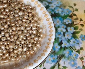 100 Antique Glass Seed Beads, Victorian Beads, Renaissance, Miriam Haskell #B43