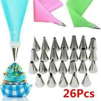 Silicone Icing Piping Cream Pastry Bag 24 Nozzle Set Cake Decorating Baking Tool