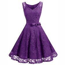 Women Floral Lace Bridesmaid Party Dress Short Prom Dress VNeck Retro Swing Gown