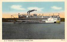Linen Curt Teich 1940 USA Postcard S.S President Mississippi Keokuk Iowa 61Y