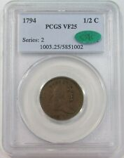 1794 USA COPPER HALF CENT PCGS VF 25 CAC (PQ)