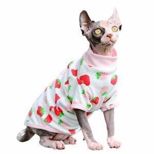Sphynx cat kitten red and white strawberry shirt pajamas S M L