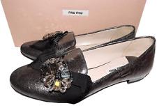 MIU MIU- PRADA Metallic Gunmetal Leather Crystals Flat Loafer Slide Shoe 36 Mule