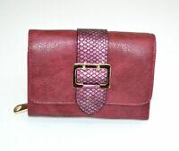 Portefeuille femme fuchsia boucle or clutch faux cuir porte-monnaie cadeau G1
