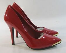 """ladies new RED 4.5"""" high Stiletto heel gold pointy toe sexy shoes Size  8.5"""