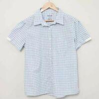 KATHMANDU Blue & White Check Print Button Front Short Sleeve Top - Size 16
