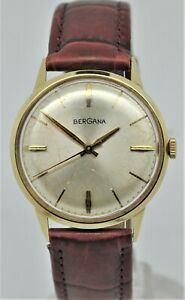 Bergana 14K solid yellow gold case gents manual wind watch