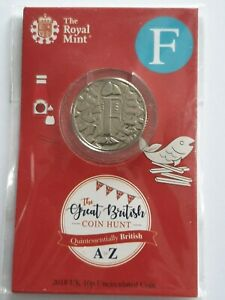 """2018 Alphabet 10p Coin Letter F Royal Mint BU Pack """"Fish And Chips"""" Ten Pence !!"""