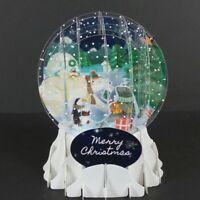 Arctic Animal Christmas Snow Globe Greeting Card 3D Pop Up Holiday Card