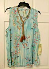 New Aratta Silent Journey Sky Blue Floral Shirt Tunic Top Tassel Sleeveless L