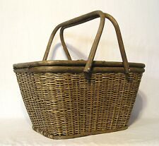 """Woven Reed """"Picnic Basket"""" Double Handled Hinged Split Top Lid Bent Branch Frame"""