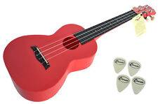 CONCERT UKULELE IN RED ABS BY CLEARWATER - 4 FREE FELT PICKS - FREE UK SHIPPING