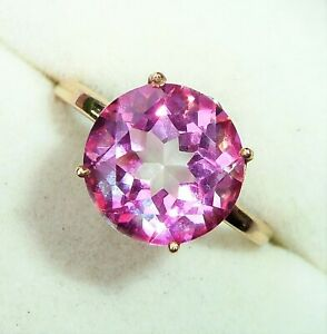 9ct Gold Round 3.83ct Pink Topaz & Diamond Solitaire Ring, Size N1/2