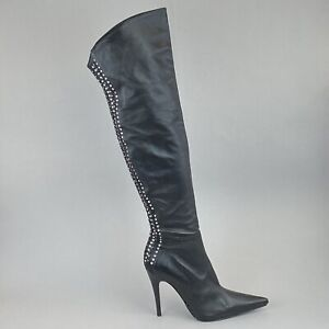 Paolo Biondini Magic Black Jewelled Studs Over the Knee Zip Sexy Boots 40 UK7