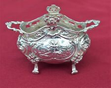 """Hand Chased Detailed Silver Bowl from 1800's - """"Lover's Tryst in The Woods"""""""