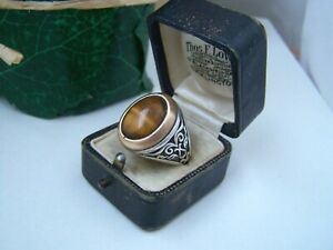 SUPERB ORNATE SOLID STERLING SILVER TIGERS EYE SIGNET RING SIZE X 11.5 UNUSUAL