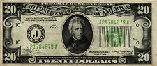 1934 $20.00 Federal Reserve Note - FR# 2054A-J - Back Check # 204 - VF/XF+