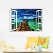 3D Meer Landschaft Fensterbild Wandsticker Wandtattoo See Urlaub Wandaufkleber