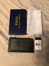 Polo Ralph Lauren Full Grain Leather Zip Around Cardholder Wallet Black $125.00