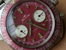 Vintage Duval Two Register Diver Chronograph w/Maroon Dial,HEV Crown,All SS Case