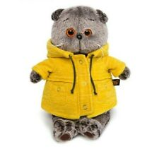 fluffy toy stuffed toy- Basik cat-collectible toy-in a yellow jacket