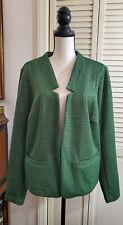 C Wonder Long Sleeve Knit Tweed Crop Notch Collar Blazer Green Gold Sz 2X