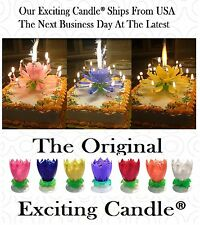 Blue Yellow Pink Amazing Musical  Rotating Lotus Exciting Happy Birthday Candles