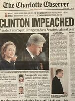 U.S. President Clinton Impeached Original Newspaper Headline December 20, 1998