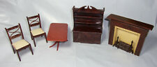Vintage Renwal plastic dollhouse furniture (2) chair fireplace hutch table Lot 5