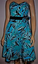all dolled up blau multi blumen schulterfrei netz unterrock cocktailkleid gr 8