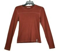 The North Face Womens Red Long Sleeve Crew Neck Shirt Cotton Casual Size Small