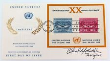 1965 UNITED NATIONS FDC signed by DESIGNER of STAMPS with SUPERB EMBOSSED CACHET