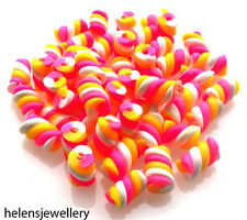 50 Pink White & Yellow Small Flump Marshmallow Beads With Clay / Fimo