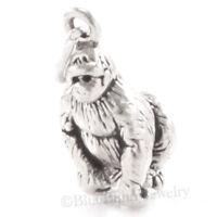 3D GORILLA Ape Africa Safari Zoo Animal 925 Charm Pendant STERLING SILVER Solid!