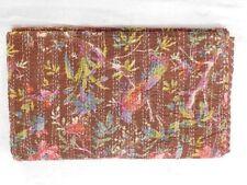 Indien bird kantha quilt cotton bohemian hippie handmade bedding bedspread queen