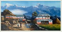 MT. ANNAPURNA FROM DHAMPUS ORIGINAL ACRYLIC PAINTING ON CANVAS 24 x 48-INCH