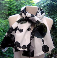 LARGE DOTS  BLACK GREEN GREY LANDSCAPE Dries Van Noten Scarf Cotton Scarf Rare