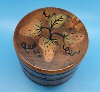 Vintage Handpainted Wood Pill Box 1972 Strawberries