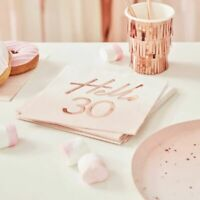 30th birthday Napkins Pink Ombre Rose Gold Blush Party Decorations Milestone