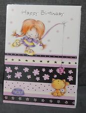"BN - BIRTHDAY CARD - JUVENILE FEMALE/GIRL - STYLE 3 - ""GIRL/CAT/FISH"""
