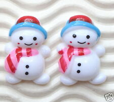 "US SELLER - 20 x 7/8"" Resin Snowman Flatback Beads for X'mas/Christmas SB240A"
