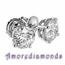 2.01 ct I/J SI2 natural round diamond 4 prong stud solitaire earrings white gold