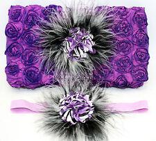 Rosette Diaper wipe case Purple Zebra PLUS matching headband Baby shower gift
